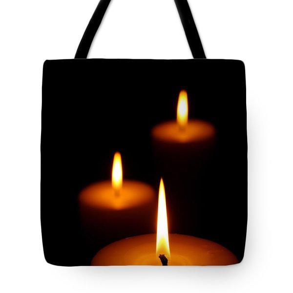 Three Burning Candles Tote Bag