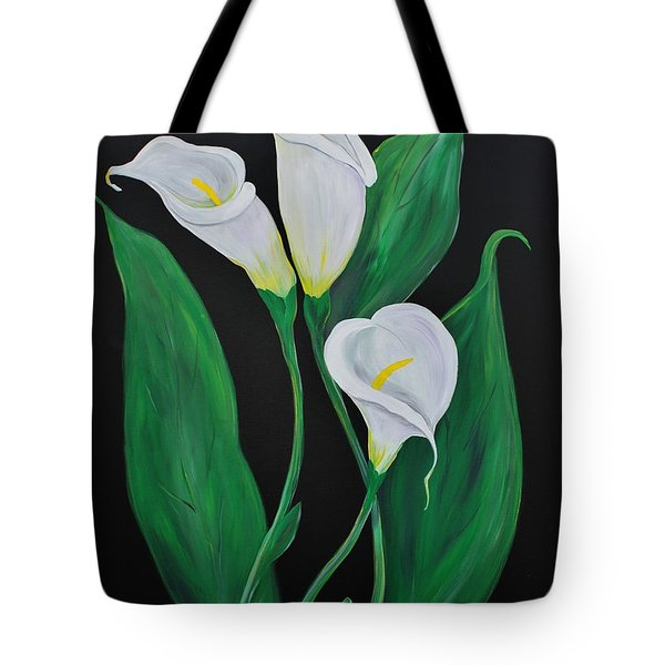 Tote Bag featuring the painting Three Calla Lilies On Black by Janice Rae Pariza