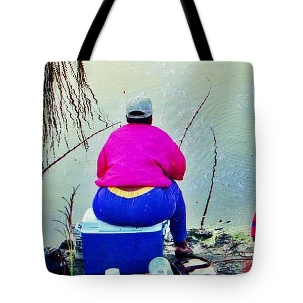 Three Cane Poling Women With Purses Tote Bag by Patricia Greer