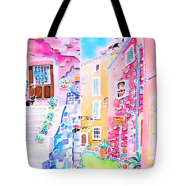 Three Cats In The Alley Tote Bag