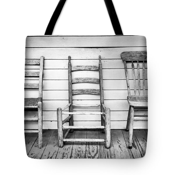 Three Chair Porch Tote Bag
