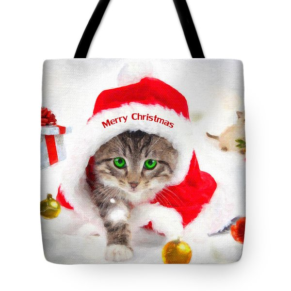 Tote Bag featuring the photograph Three Christmas Kittens by Chris Armytage