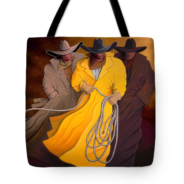 Tote Bag featuring the painting Three Cowboys by Lance Headlee