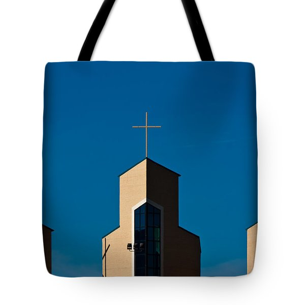 Tote Bag featuring the photograph Three Crosses Of Livingway Church  by Ed Gleichman