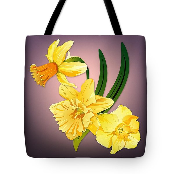Tote Bag featuring the digital art Three Daffodils by MM Anderson