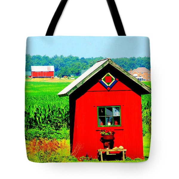 Three Delightful  Buildings Tote Bag by Tina M Wenger