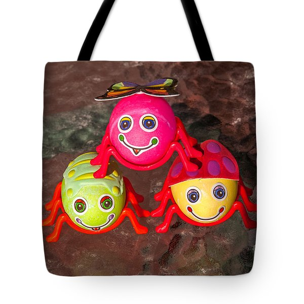 Three Easter Egg Bugs Tote Bag by Sue Smith