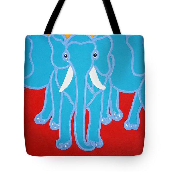 Three Elephants Tote Bag by Matthew Brzostoski