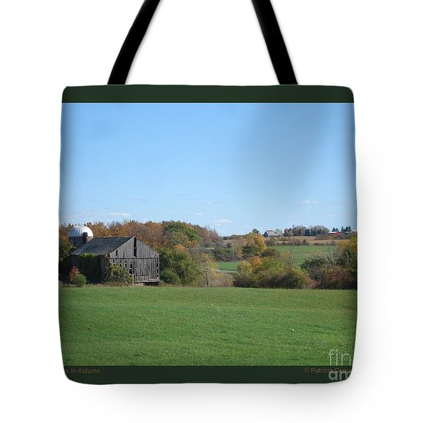 Tote Bag featuring the photograph Three Farms In Autumn by Patricia Overmoyer