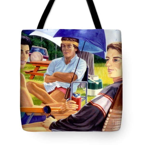 Three Friends Camping Tote Bag