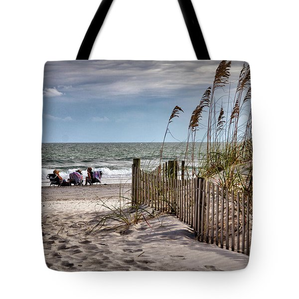 Three Friends Meet At Shell Island Tote Bag