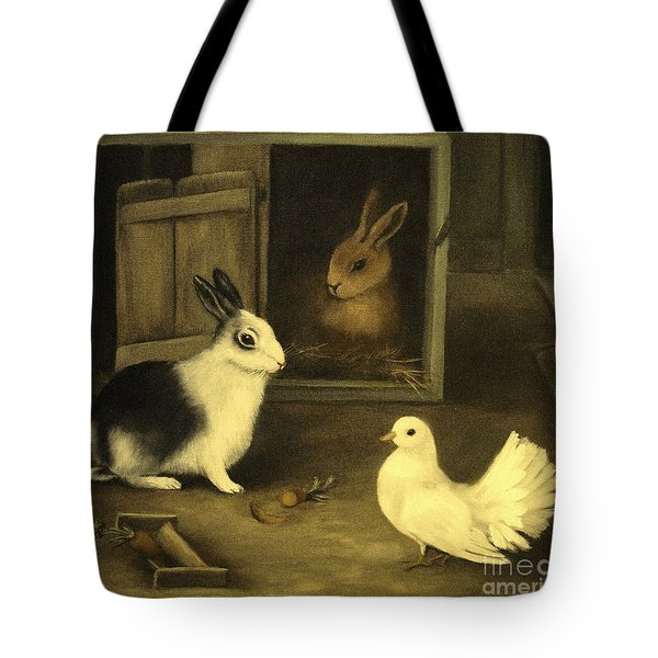 Three Friends Sharing A Moment Tote Bag