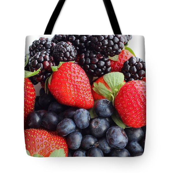 Three Fruit Closeup - Strawberries - Blueberries - Blackberries Tote Bag by Barbara Griffin