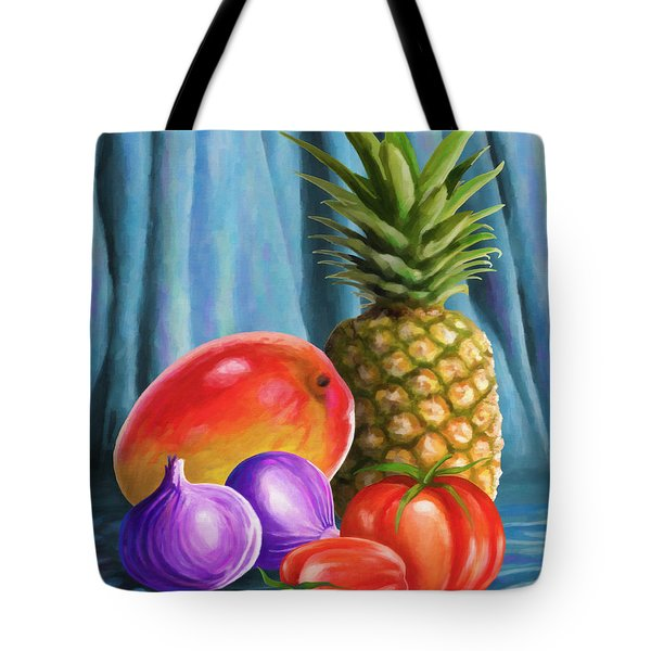 Three Fruits And A Vegetable Tote Bag