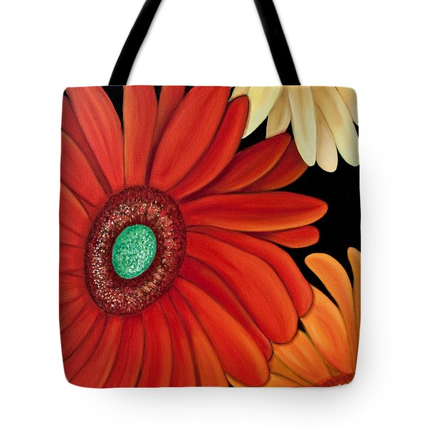 Tote Bag featuring the painting Three Gerbera by Barbara McMahon