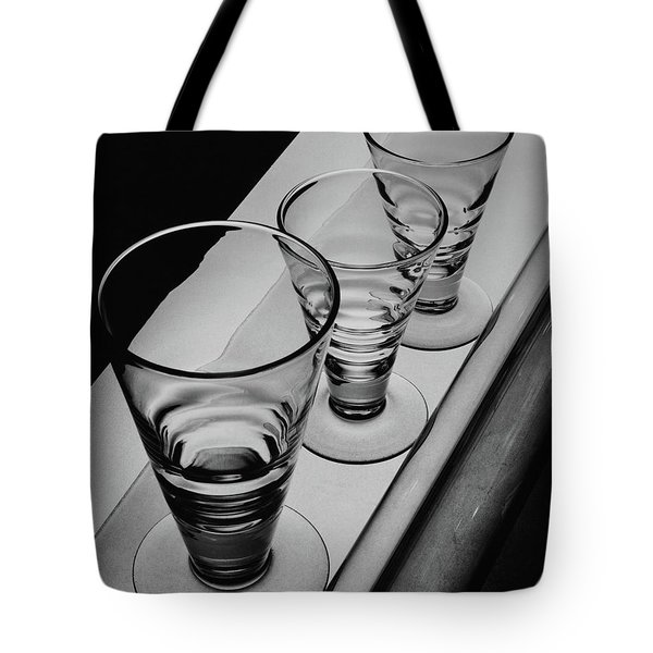 Three Glasses On A Shelf Tote Bag