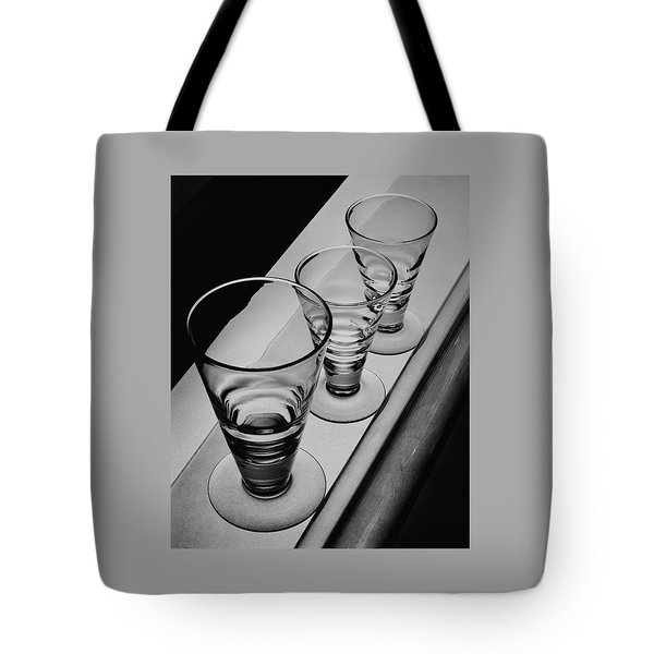 Three Glasses On A Shelf Tote Bag