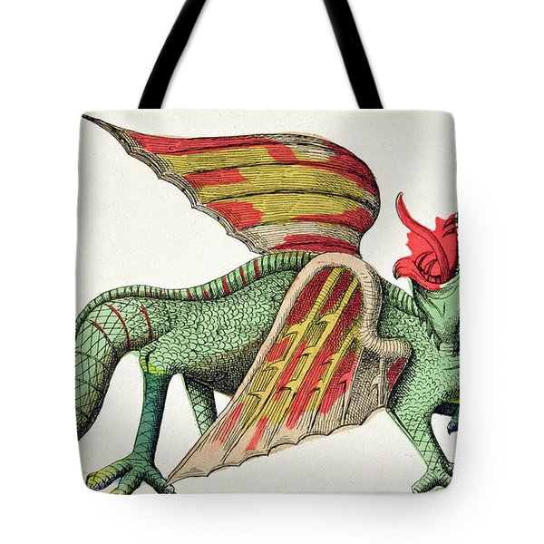 Three Headed Dragon Spitting Fire Tote Bag by German School