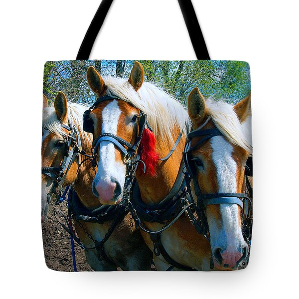 Three Horses Break Time  Tote Bag