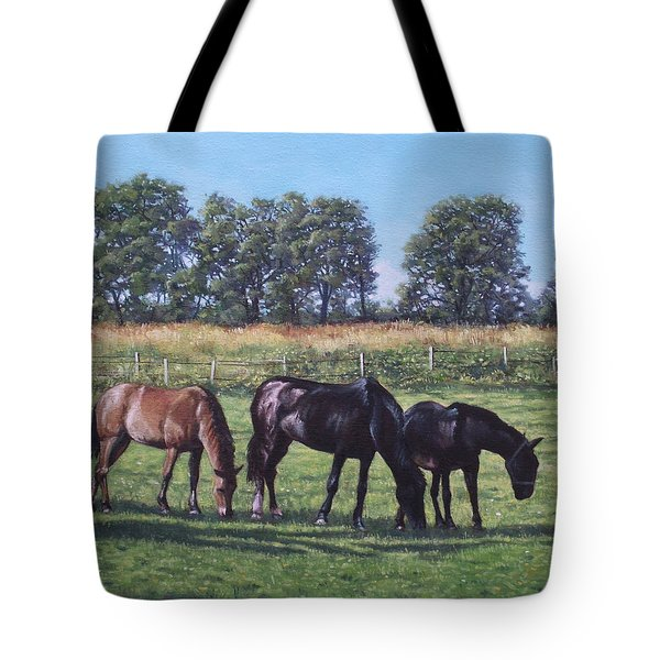 Three Horses In Field Tote Bag