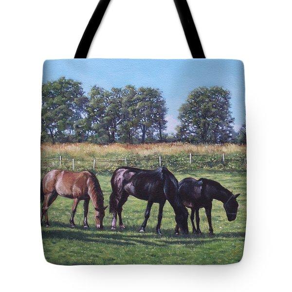 Three Horses In Field Tote Bag