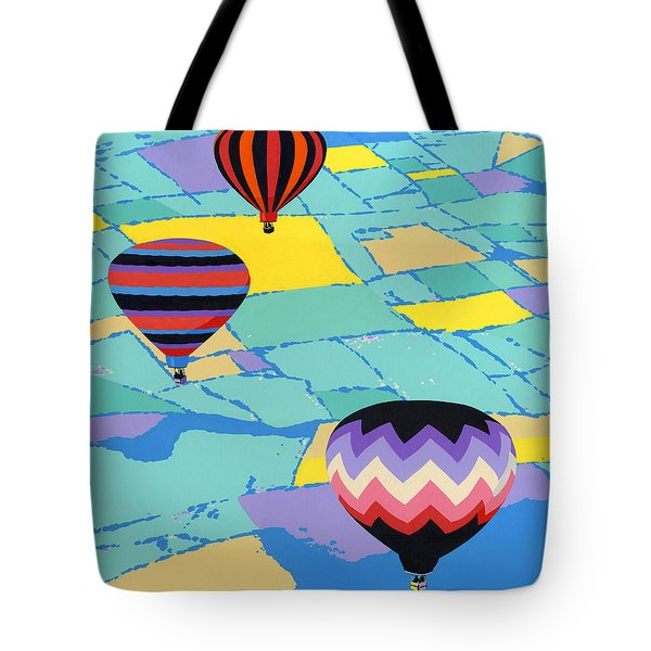 Three Hot Air Balloons Arial Absract Landscape - Square Format Tote Bag