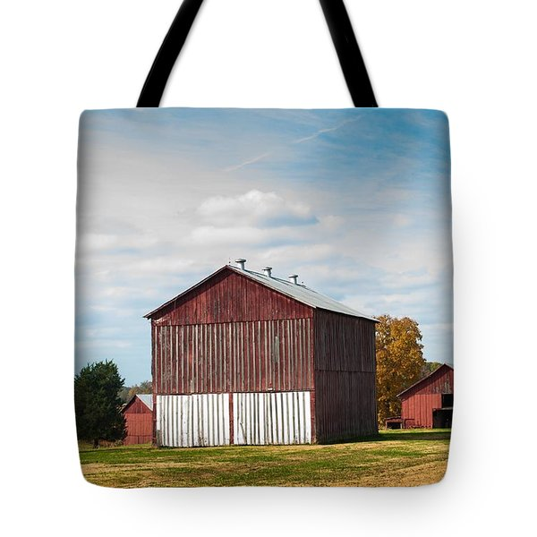 Tote Bag featuring the photograph Three In One Barns by Debbie Green