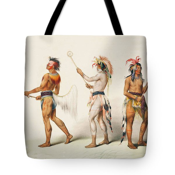 Three Indians Playing Lacrosse Tote Bag