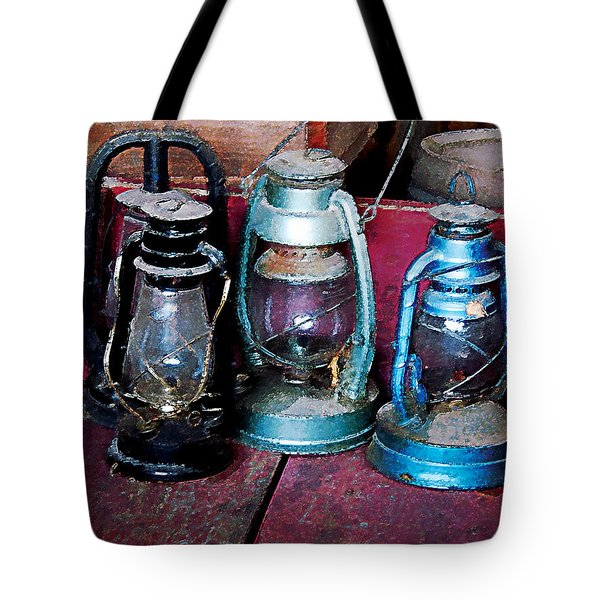 Three Kerosene Lamps Tote Bag by Susan Savad