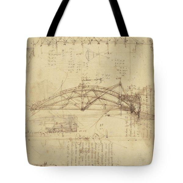 Three Kinds Of Movable Bridge Tote Bag by Leonardo Da Vinci