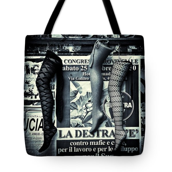 Three Mannequin Legs Tote Bag by Dave Bowman