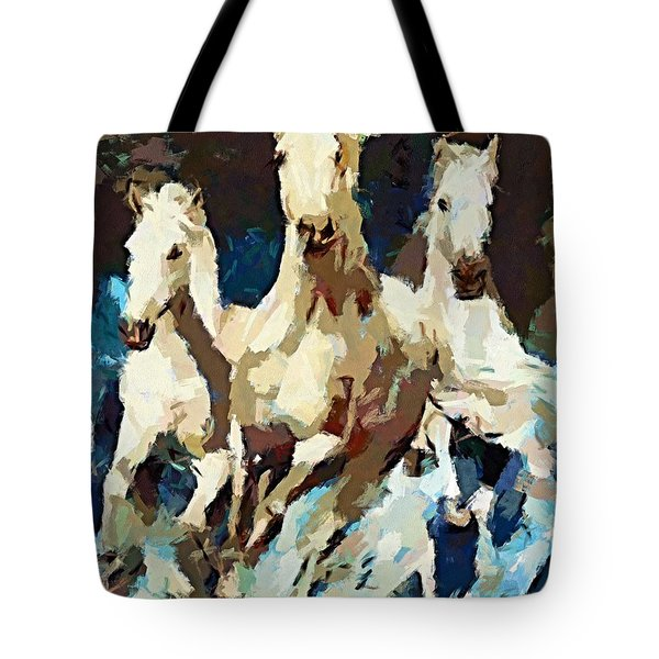 Three Lipizzans Tote Bag