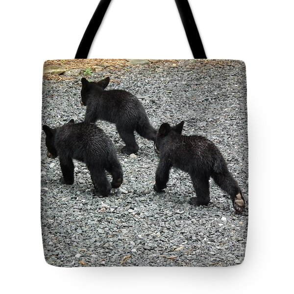 Three Little Bears In Step Tote Bag by Jan Dappen