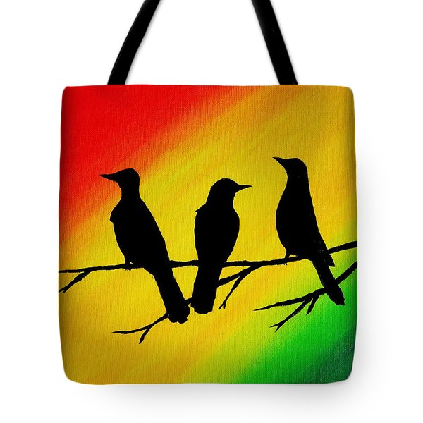 Three Little Birds Original Painting Tote Bag