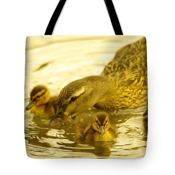 Three Little Duckies And Mom Tote Bag