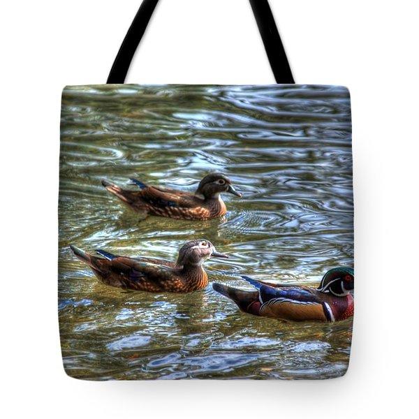 Three Mallard Ducks Tote Bag