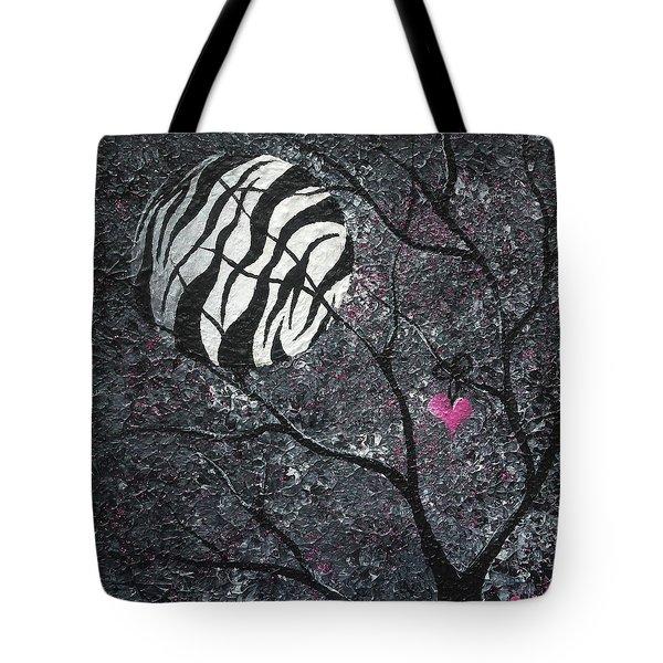 Three Moons Series - Zebra Moon Tote Bag by Oddball Art Co by Lizzy Love