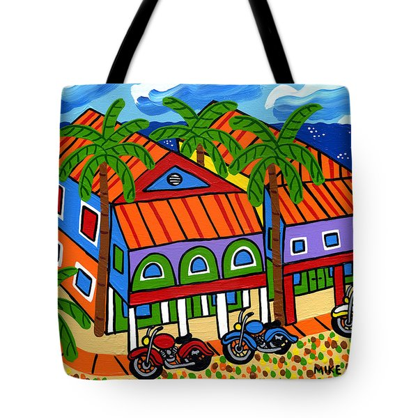Three Motorcycles At Cedar Key Tote Bag