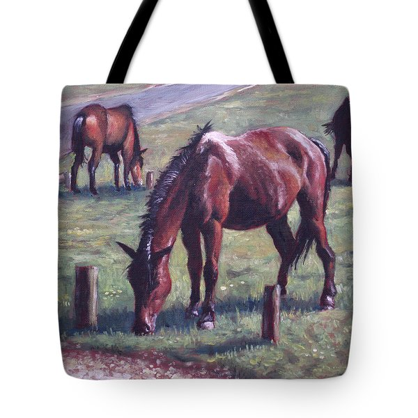 Three New Forest Horses On Grass Tote Bag