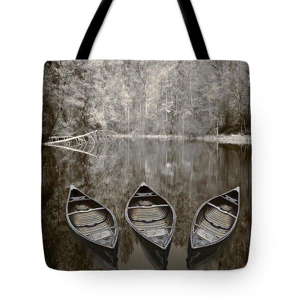 Three Old Canoes Tote Bag by Debra and Dave Vanderlaan