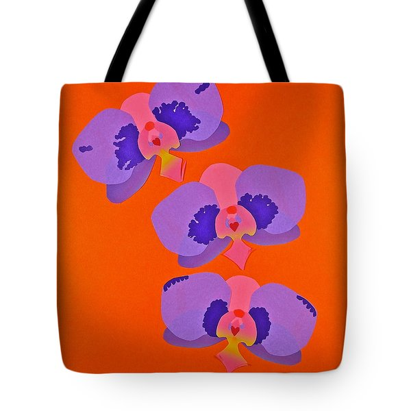 Tote Bag featuring the mixed media Three Orchids by Michele Myers