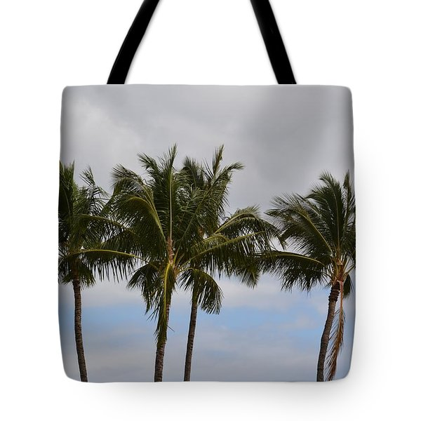 Three Palm Trees Tote Bag