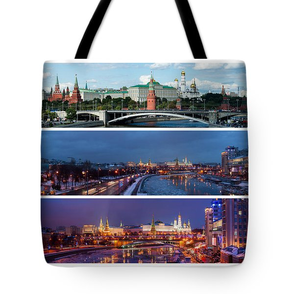 Three Panoramas Of Moscow Kremlin - Featured 3 Tote Bag