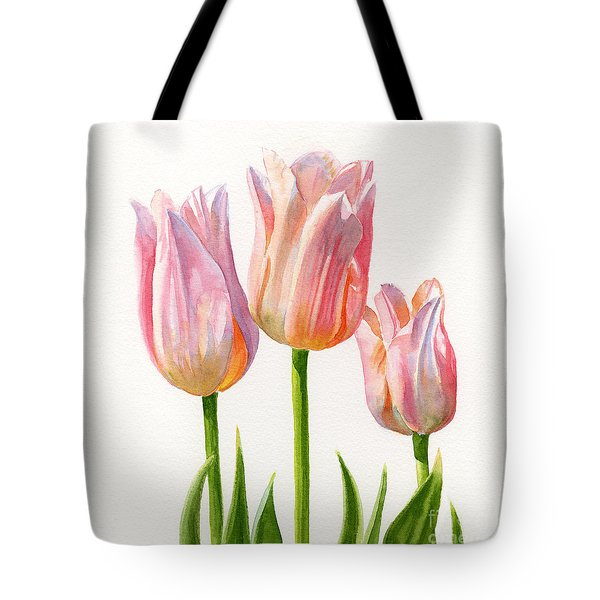 Three Peach Colored Tulips Square Design Tote Bag by Sharon Freeman
