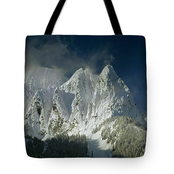1m4503-three Peaks Of Mt. Index Tote Bag