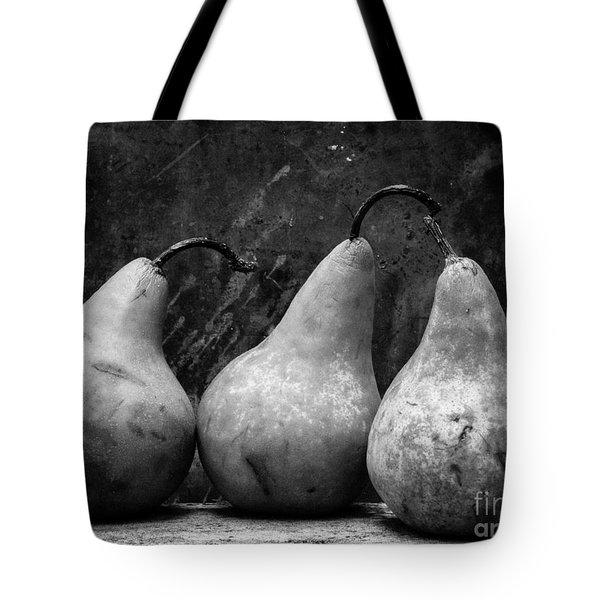 Three Pear Still Life Black And White Tote Bag
