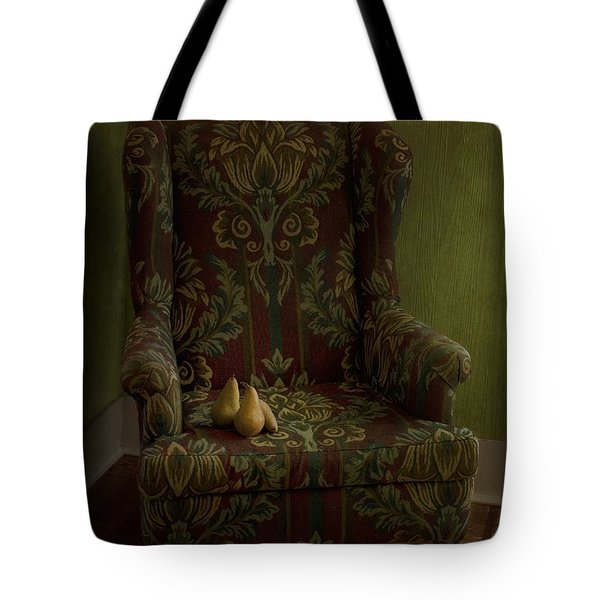 Three Pears Sitting In A Wing Chair Tote Bag by Priska Wettstein