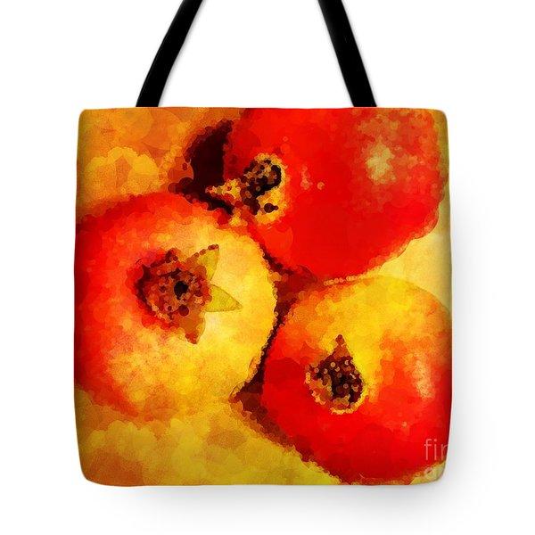 Three Pomegranates Tote Bag by Mary Machare