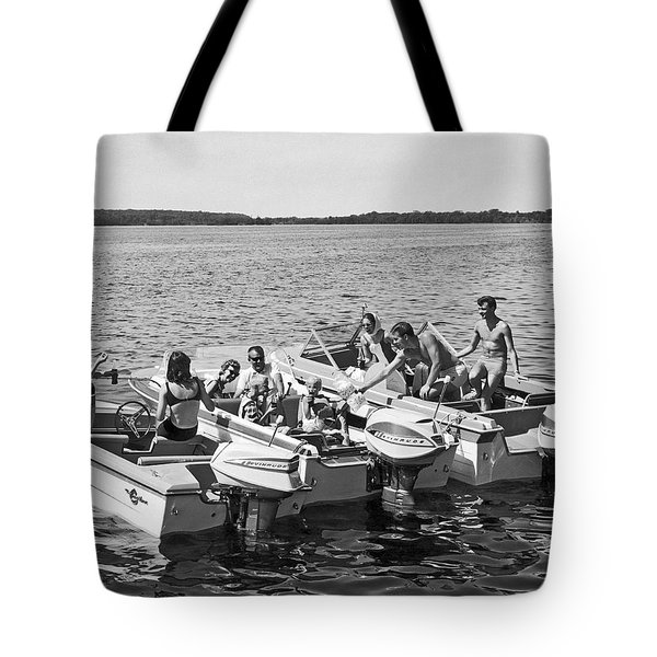 Three Power Boats Gather Together For Summer Boating Fun Tote Bag