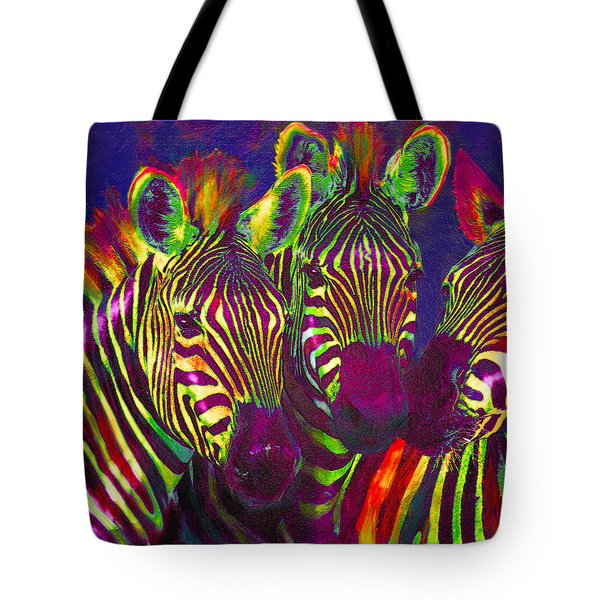 Three Rainbow Zebras Tote Bag